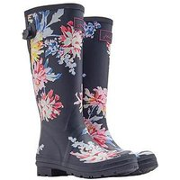 Joules Printed Tall Adjustable Whitstable Floral Welly, Navy Whitstable Floral, Size 5, Women