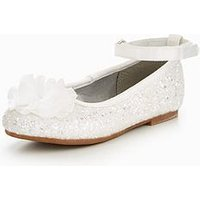 Mini V by Very Girls Penny Glitter Ballerina - White, Silver, Size 4 Younger
