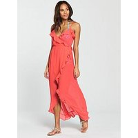 V by Very Chiffon Ruffle Wrap Maxi Beach Dress, Nectarine, Size 14, Women