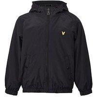 Lyle & Scott Boys Windcheater Zip Through Hooded Jacket, Black, Size Age: 14-15 Years