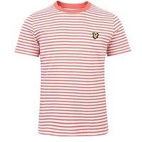 Lyle & Scott Boys Fine Stripe T-shirt, Sunset Pink, Size 8-9 Years