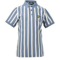 Lyle & Scott Boys Deckchair Stripe Polo, Mist Blue, Size 6-7 Years