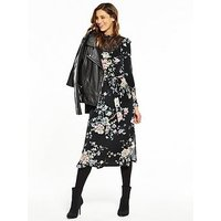 V by Very High Neck Lace Printed Midi Dress, Print, Size 10, Women