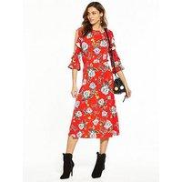 V by Very Cold Shoulder Printed Midi Dress, Print, Size 18, Women