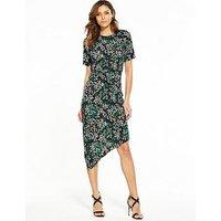 V by Very Asymmetric Hem Ruched Midi Dress, Print, Size 24, Women