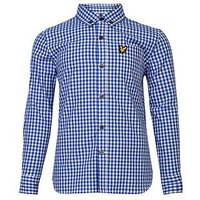 Lyle & Scott Boys Gingham Check Shirt, Blue, Size 5-6 Years