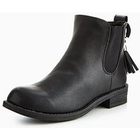 Lost Ink Lost Ink Tassel Ring Detail Basic Chelsea Boot, Black, Size 8, Women