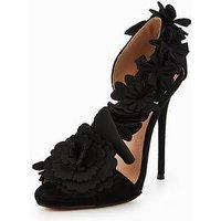 Lost Ink Asymmetric Floral Heeled Sandal, Black, Size 4, Women