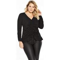 V by Very Curve Ruched Front and Sleeve Jersey Top, Black, Size 22, Women