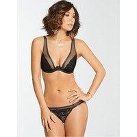 Myleene Klass Mesh Embroidery Overlay Bra - Black, Black, Size 38B, Women
