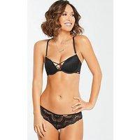 Myleene Klass Lace Up Bra - Black, Black, Size 36E, Women