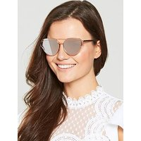 V by Very Mirror Metal Frame Brow Bar Sunglasses - Rose Gold, Rose Gold, Women