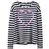 Joules Girls Cora Embellished Jersey Top, Navy Stripe, Size Age: 11-12 Years, Women