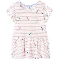 Joules Lil Bright Pink Stripe Peplum Jersey T-shirt, Bright Pink, Size Age: 9-10 Years, Women