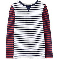 Joules Boys Buckley Jersey Top, Cream Stripe, Size 11-12 Years