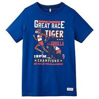 Joules Boys Ben Tiger Race Screenprint T-shirt, Dark Blue Race, Size 11-12 Years