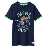 Joules Boys Wildside Applique Jersey T-shirt, French Navy Cheetah, Size 11-12 Years