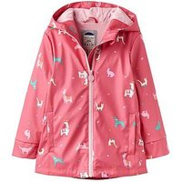 Joules Girls Animal Print Raindance Rubber Coat, Bright Pink, Size Age: 1 Year, Women