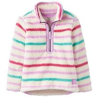 Joules Girls Merridie Multi Stripe Half Zip Fleece, Mauve Multi Stripe, Size Age: 1 Year, Women