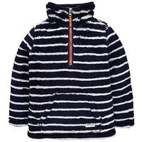 Joules Boys Woozle Half Zip Fleece, Navy Stripe, Size 4 Years