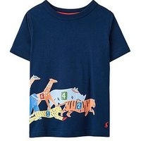 Joules Boys Animal Race Jersey T-shirt, Navy Animal Race, Size 5 Years