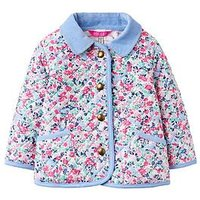 Joules Baby Girls Mabel Quilted Jacket, Kitty Ditsy, Size 9-12 Months