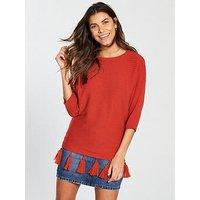 V by Very Tassel Hem Rib Dolman Jumper - Red , Brick, Size 18, Women