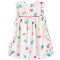 Joules Baby Gertie Woven Frill Dress, Cream Multi Spot, Size 3-6 Months