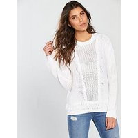 V by Very Fringe Detail Jumper - White, White, Size 16, Women