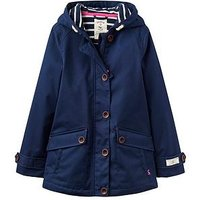 Joules Girls Waterproof Hooded Coat, French Navy, Size 3 Years, Women