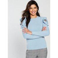 V by Very Frill Cold Shoulder Jumper - Soft Blue, Soft Blue, Size 18, Women