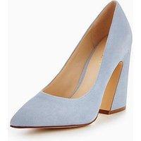 Nine West Henra Flare Heel Pointed Court Shoe - Pale Blue, Pale Blue, Size 6, Women