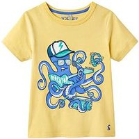 Joules Archie Applique Jersey T-shirt, Pale Lemon Rocktopus, Size 2 Years, Women