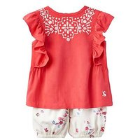 Joules Baby Tallulah Bloomer Set, Red Sky Seashell, Size 6-9 Months