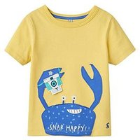 Joules Chomp Applique Jersey Top, Pale Lemon Crab, Size 3 Years, Women