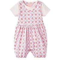 Joules Baby Dolly Romper Suit & T-shirt Set, Cream Summer Mosaic, Size 6-9 Months