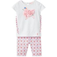 Joules Baby Paula Frill Top With Half Legging Set, Cream Summer Mosaic, Size 6-9 Months