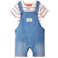 Joules Baby Boys Duncan Denim Jersey Dungaree Set, Denim, Size 0-3 Months