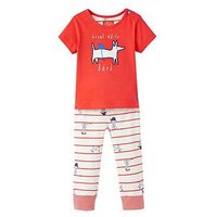 Joules Baby Doodle Applique T-shirt & Trouser Set, Sea Dog Stripe, Size 9-12 Months