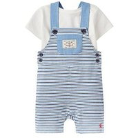 Joules Baby Duncan Jersey Dungaree Set, Whitby Blue Stripe, Size 9-12 Months