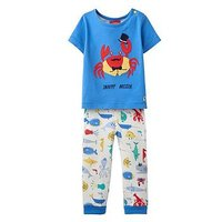 Joules Baby Doodle Applique T-shirt & Trouser Set, Whitby Blue, Size 9-12 Months
