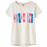 Joules Girls Astra Jersey Tshirt, Cream Mermazing, Size Age: 4 Years, Women