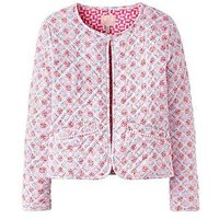 Joules Girls Bibi Quilted Cropped Jacket - Cream Summer Mosaic, Cream Summer Mosaic, Size 5 Years, Women