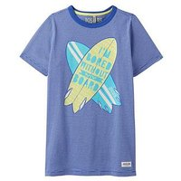 Joules Boys Ben Screenprint T-shirt, Navy Stripe Board, Size 9-10 Years