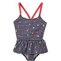 Joules Girls Terri Two Piece Swimsuit, Navy Stripe Fun Spot, Size Age: 11-12 Years, Women