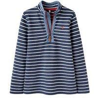 Joules Boys Dale Saltwash Half Zip Sweatshirt, Navy Stripe, Size 9-10 Years