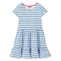 Joules Coco Peplum Dress, Blue Starfish Geo, Size 11-12 Years, Women