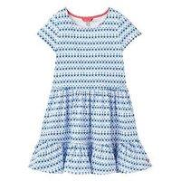 Joules Coco Peplum Dress, Blue Starfish Geo, Size 6 Years, Women