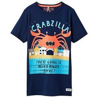 Boys, Joules Ben Screenprint T-shirt, Navy Crab, Size 11-12 Years