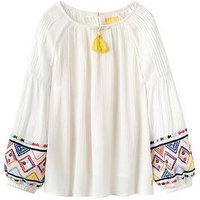 Joules Girls Jasmine Embroidered Woven Top, Cream Seaside, Size Age: 7-8 Years, Women